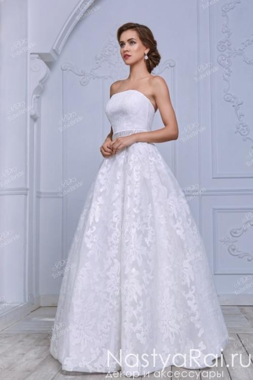 Белое свадебное платье с корсетом NN032