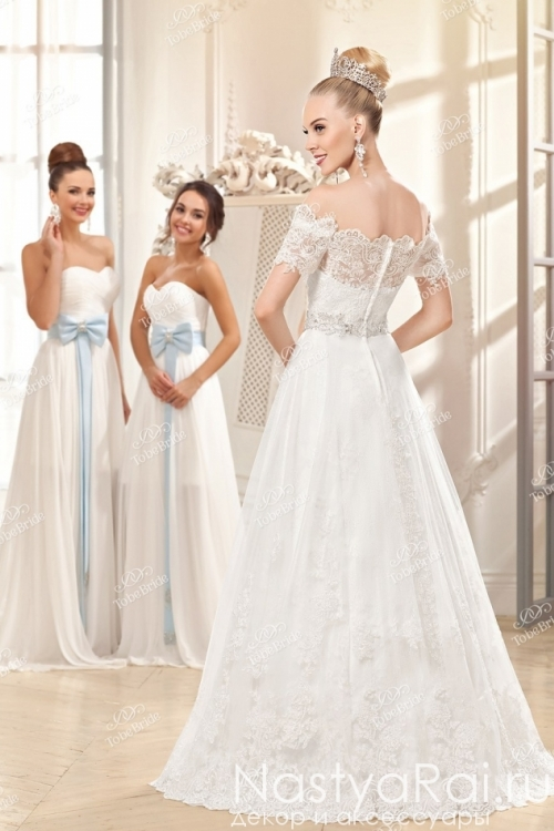 Белое свадебное платье с кружевом ME010Y1