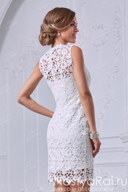 Свадебное кружевное платье до колена NN031