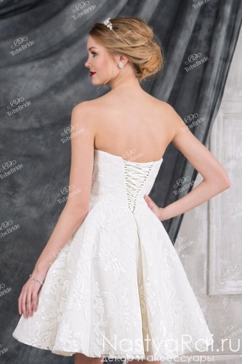 Короткое свадебное платье-бюстье TB013