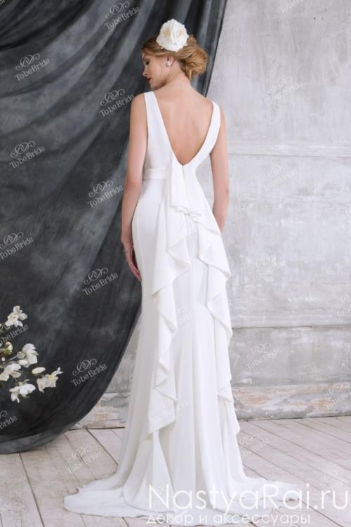 Длинное свадебное платье с вырезом на спине NN010