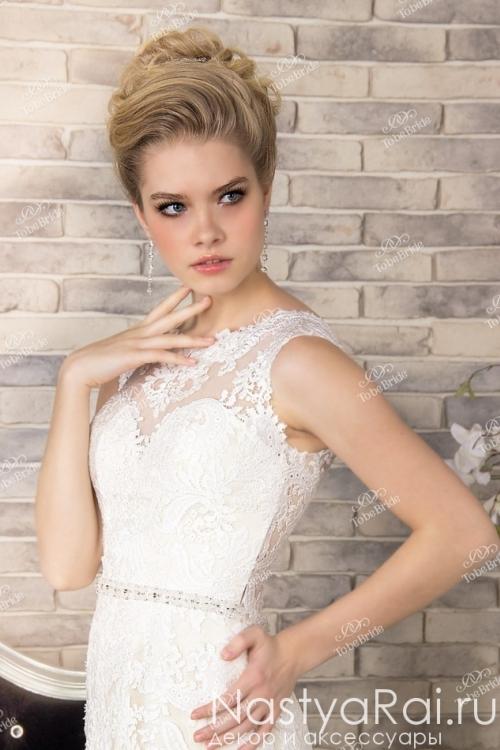 Длинное свадебное платье с поясом SL0179