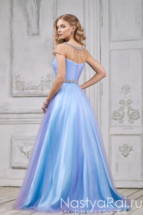 Длинное вечернее платье с легкой фатиновой юбкой MC078B