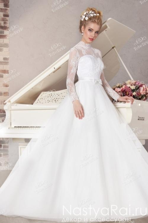 Пышное закрытое свадебное платье NS007