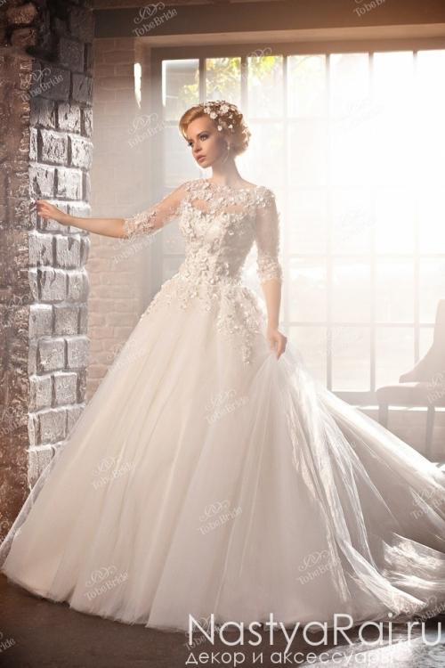 Закрытое пышное свадебное платье AZ003