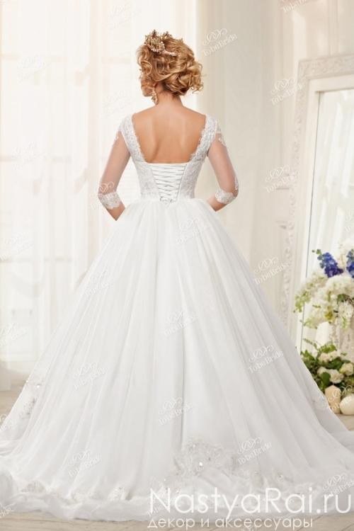 Длинное свадебное платье со шлейфом EV018