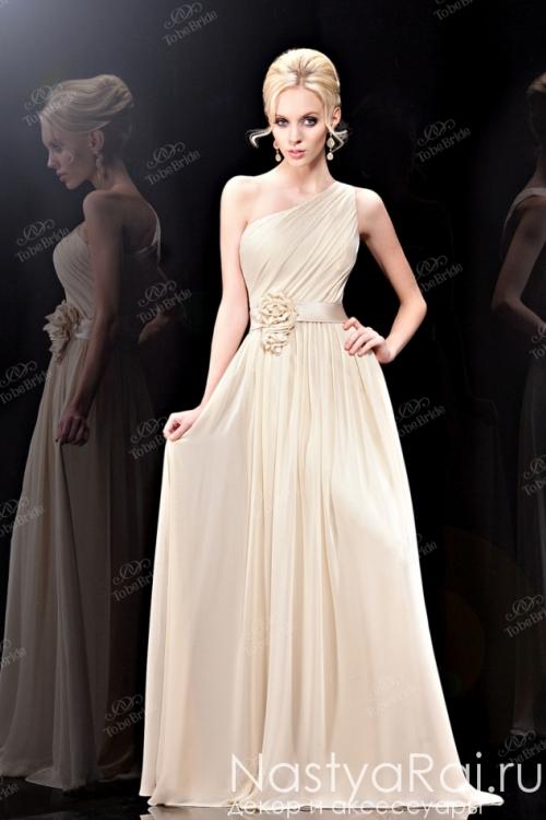 Бежевое шелковое платье в пол BB337B