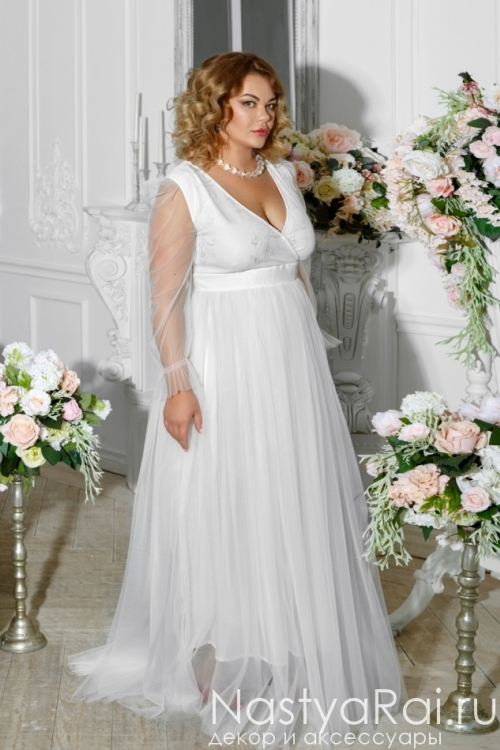 Свадебное платье с шифоновыми рукавами ZRM001