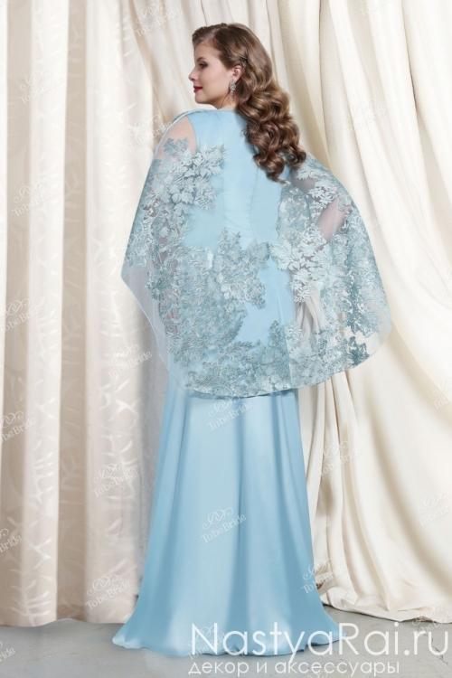 Платье фасона русалка с накидкой из кружева TB047B