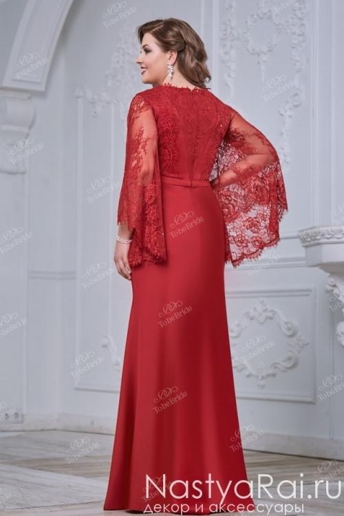 Красное вечернее платье с кружевной накидкой CH0075B