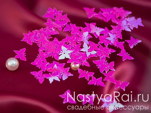 Конфетти розовые бабочки