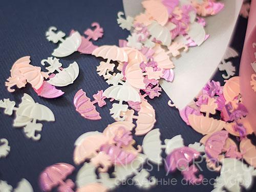 Конфетти розовые зонтики