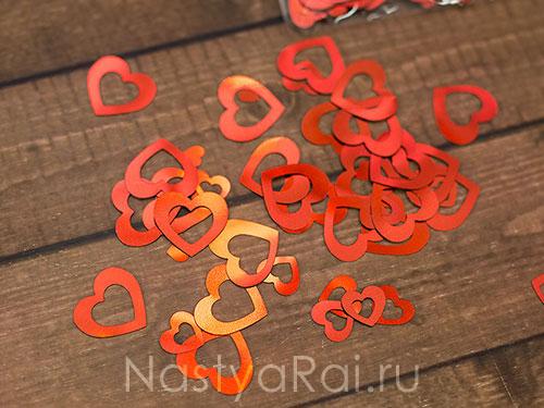 Свадебное конфетти Сердца красные двойные