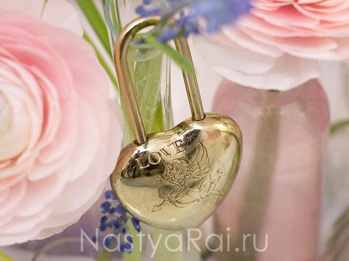 Замочек на свадьбу с ангелом, золотой