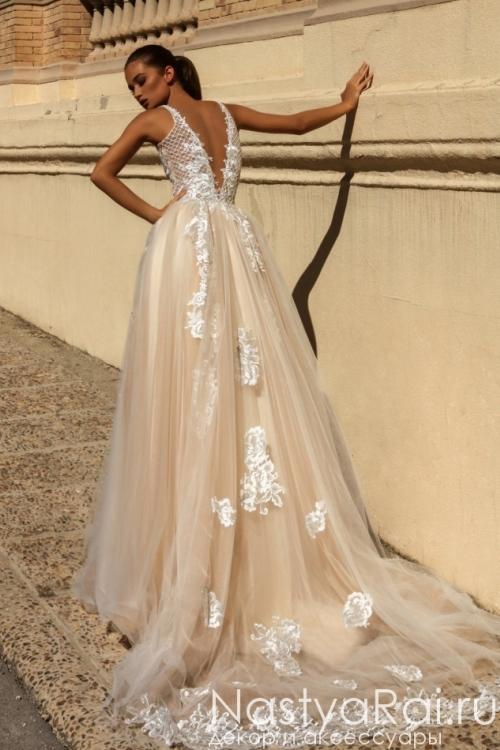 7cfb397a35251fa Свадебное платье с открытой спиной ZVS001 Свадебное платье с открытой  спиной ZVS001
