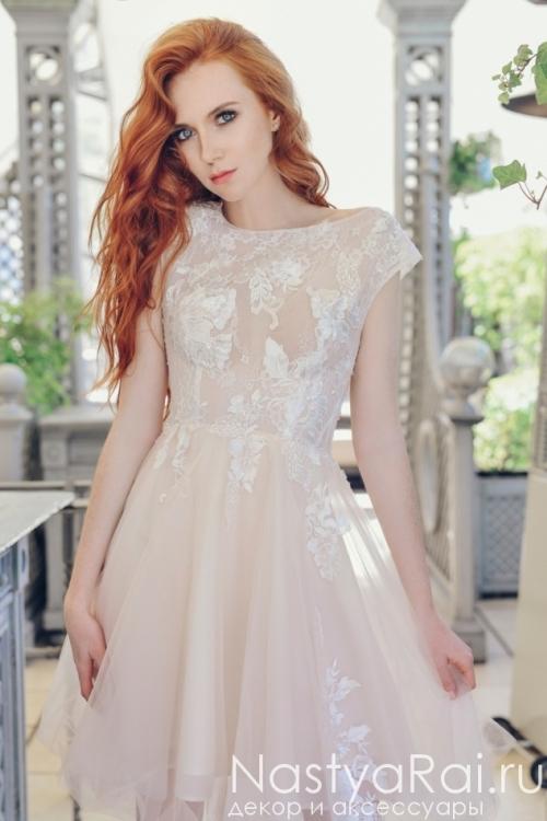 c11f8ddcce9 Свадебное платье с открытой спиной ZVS001. Короткое нарядное платье с  кружевом ZIS001 ...
