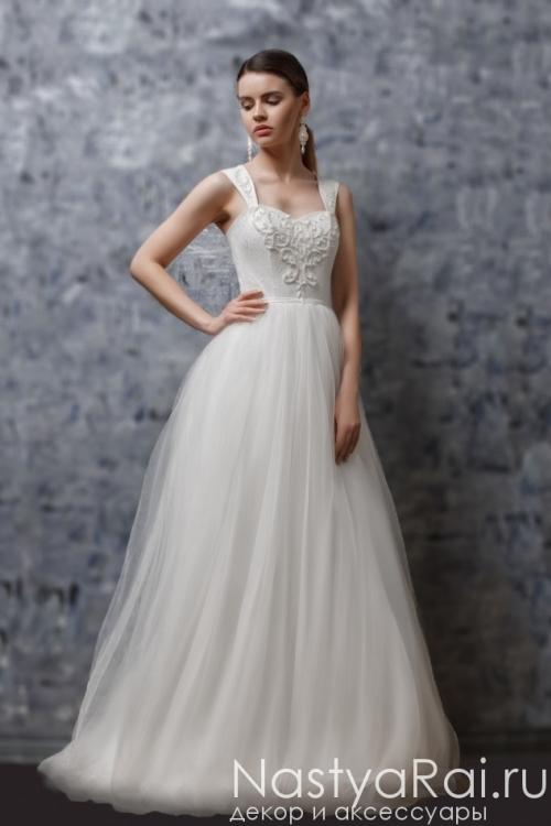 66038ad49ae Свадебное платье на широких лямках ZOF007